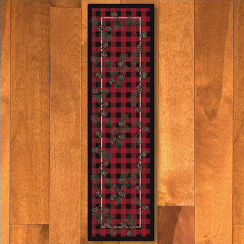 2' x 8' Wooded Pines Red Nature Rectangle Runner Rug