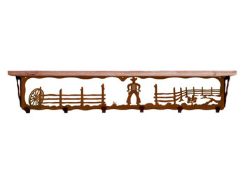 "42"" Cowboy Scene Metal Wall Shelf and Hooks with Alder Wood Top"