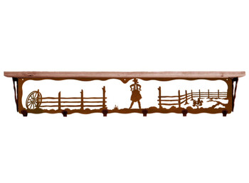 "42"" Cowgirl Scene Metal Wall Shelf and Hooks with Alder Wood Top"