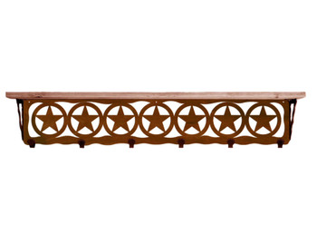 "42"" Texas Star Metal Wall Shelf and Hooks with Pine Wood Top"