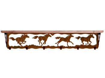 "42"" Wild Horses Metal Wall Shelf and Hooks with Pine Wood Top"