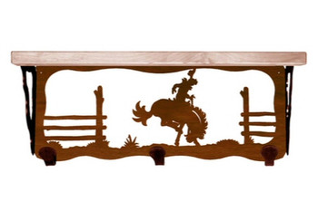 "20"" Bucking Bronco Rider Metal Wall Shelf and Hooks with Pine Wood Top"