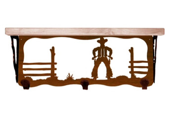 "20"" Cowboy Scene Metal Wall Shelf and Hooks with Alder Wood Top"