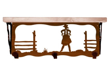 "20"" Cowgirl Scene Metal Wall Shelf and Hooks with Alder Wood Top"