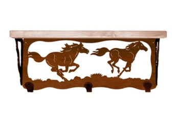 "20"" Wild Horses Metal Wall Shelf and Hooks with Pine Wood Top"