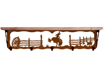 "34"" Bucking Bronco Rider Metal Wall Shelf & Hooks with Alder Wood Top"