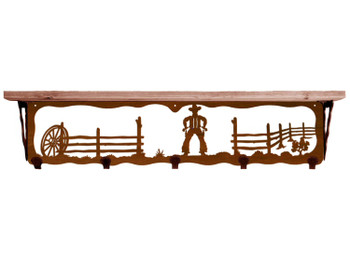 "34"" Cowboy Scene Metal Wall Shelf and Hooks with Pine Wood Top"