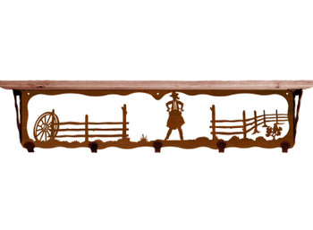 "34"" Cowgirl Scene Metal Wall Shelf and Hooks with Pine Wood Top"