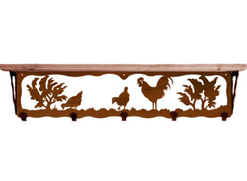 "34"" Rooster Bird Metal Wall Shelf and Hooks with Alder Wood Top"