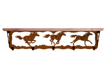 "34"" Wild Horses Metal Wall Shelf and Hooks with Alder Wood Top"