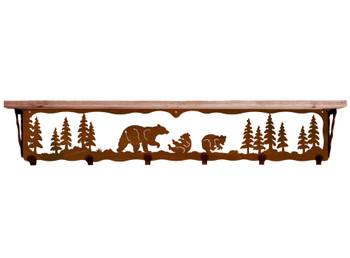 "42"" Bear Family Metal Wall Shelf and Hooks with Alder Wood Top"