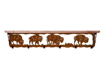 "42"" Buffalo Metal Wall Shelf and Hooks with Alder Wood Top"