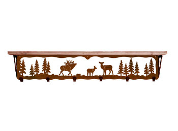 "42"" Elk Family Metal Wall Shelf and Hooks with Alder Wood Top"