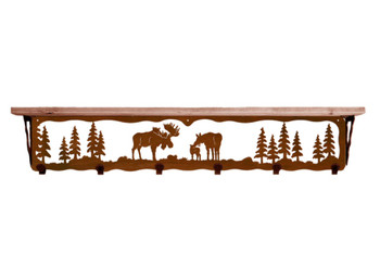 "42"" Moose Family Metal Wall Shelf and Hooks with Pine Wood Top"
