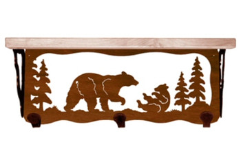 "20"" Bear Family Metal Wall Shelf and Hooks with Alder Wood Top"
