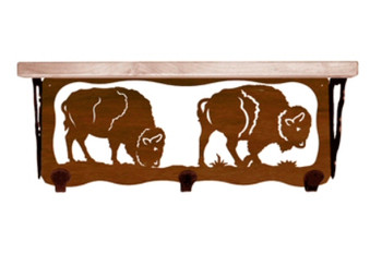 "20"" Buffalo Metal Wall Shelf and Hooks with Alder Wood Top"