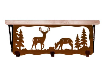 "20"" Deer Family Metal Wall Shelf and Hooks with Alder Wood Top"