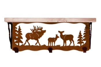 "20"" Elk Family Metal Wall Shelf and Hooks with Alder Wood Top"