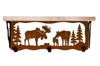 "20"" Moose Family Metal Wall Shelf and Hooks with Alder Wood Top"