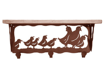 "20"" Quail Family Metal Wall Shelf and Hooks with Pine Wood Top"