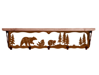 "34"" Bear Family Metal Wall Shelf and Hooks with Pine Wood Top"