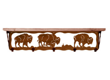 "34"" Buffalo Metal Wall Shelf and Hooks with Pine Wood Top"