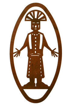 "22"" Oval Kachina with Arms Out Metal Wall Art"