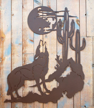 "42"" Howling Coyote Metal Wall Art"