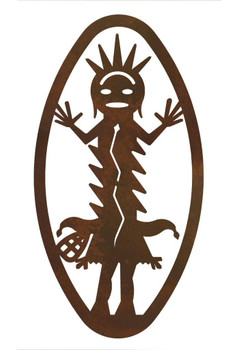 "22"" Oval Kachina with Hands Pointing Up Metal Wall Art"