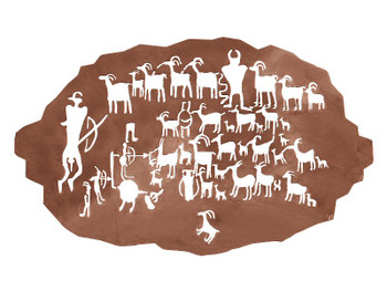 "42"" Petroglyph Great Hunt Metal Wall Art"