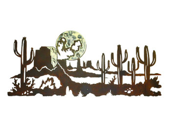 "57"" Desert Scene with Cactus and Moon Metal Wall Art"