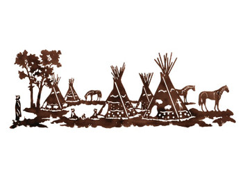 "84"" Tepee Village Metal Wall Art"