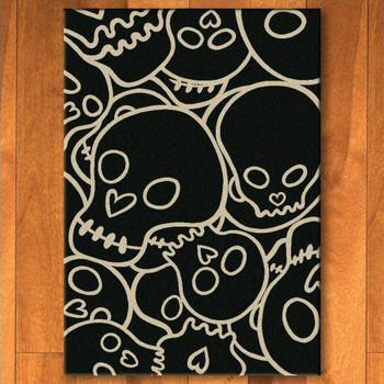 3' x 4' Head Banger Skulls Black Rectangle Scatter Rug