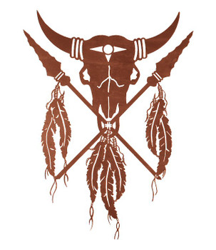 "42"" Shield and Spear Metal Wall Art"
