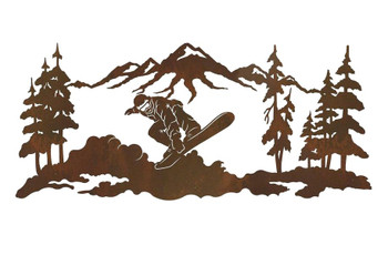 "57"" Snowboarder Metal Wall Art"