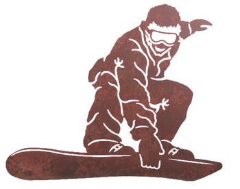 """26"""" Snowboarder Metal Wall Art"""