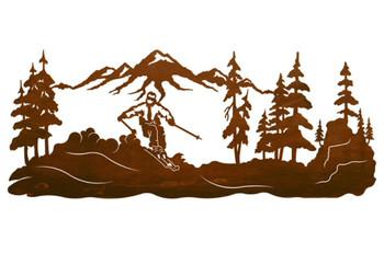 "42"" Skier in the Pines Metal Wall Art"
