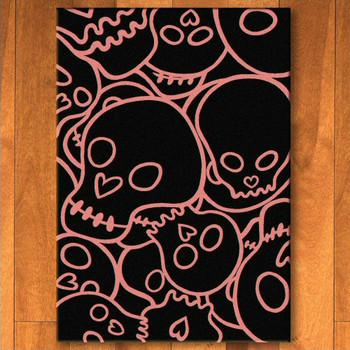 3' x 4' Head Banger Skulls Pink Rectangle Scatter Rug