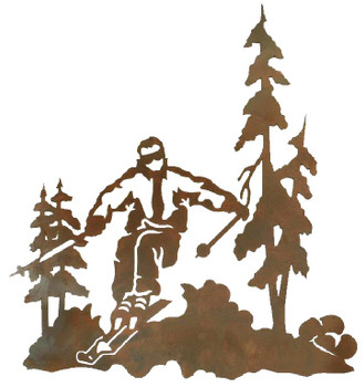 "30"" Skier Metal Wall Art"