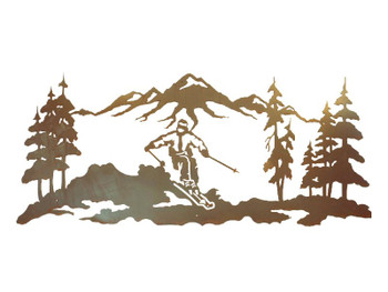 "57"" Skier in the Pines Metal Wall Art"