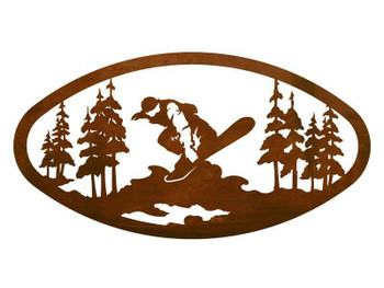"22"" Oval Snowboarder Metal Wall Art"