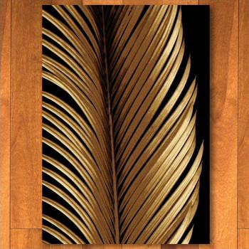 3' x 4' Tropical Leaf Study Black Rectangle Scatter Rug