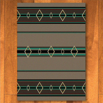 3' x 4' Old Timer Turquoise Southwest Rectangle Scatter Rug