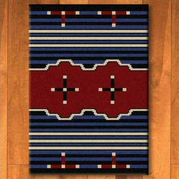 3' x 4' Big Chief 2 Blue Southwest Rectangle Scatter Rug