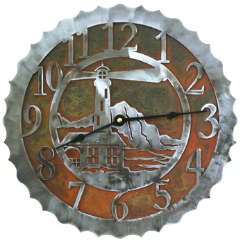 "12"" Lighthouse Metal Wall Clock"