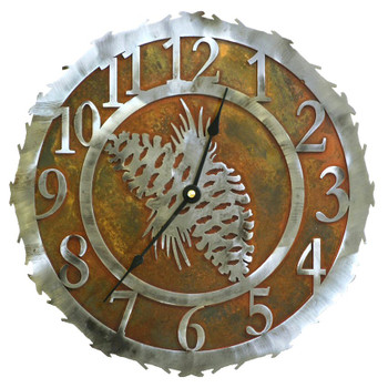 "12"" Pine Cone Metal Wall Clock"