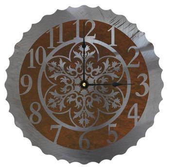 """12"""" Ornamental Flower Metal Wall Clock"""