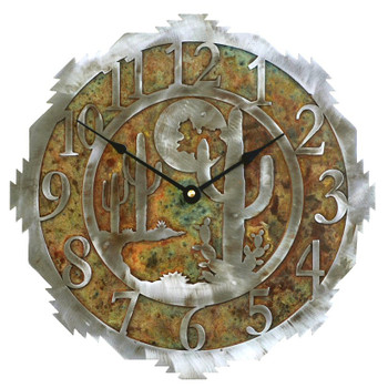 "12"" Desert Moon Metal Wall Clock"