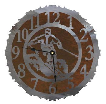 "12"" Snow Skier Metal Wall Clock"