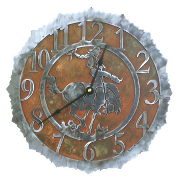 "12"" Bucking Bronco Rider Metal Wall Clock"